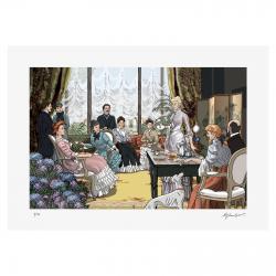 Le salon d'Odette Swann. Estampe de Stéphane Heuet. Illustration de A l'ombre des Jeunes filles en fleurs de Marcel Proust.