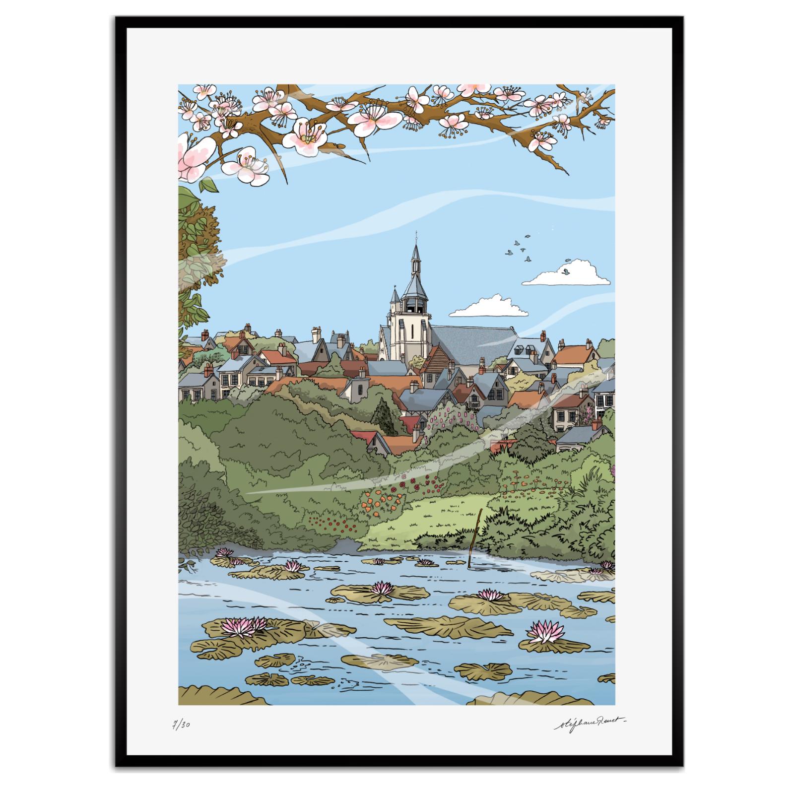 La Vivonne à Combray. Estampe de Stéphane Heuet. Illustration de Du côté de chez Swann de Marcel Proust.